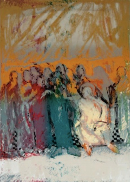 Bruce Hixon Smith (b. Utah, 1936) Woman Taken in Adultery (1993) Lithograph.