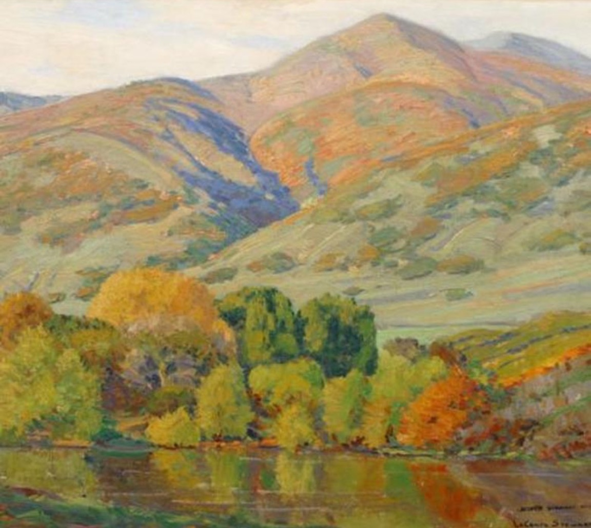 LeConte Stewart (American, 1891-1990)  Autumn's Gold, Harvey's Pond  (1929) Oil on canvas. 24 x 28 in. LDS Church History Museum, Salt Lake City.