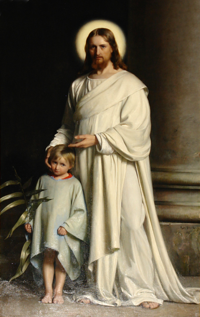 Christ and Child (1873) by Carl Bloch (Danish, 1834-1890). Oil on Canvas. 151 5/8 x 63 in. Collection of  Skt. Nikolai Kirke  Holbaek, Denmark.