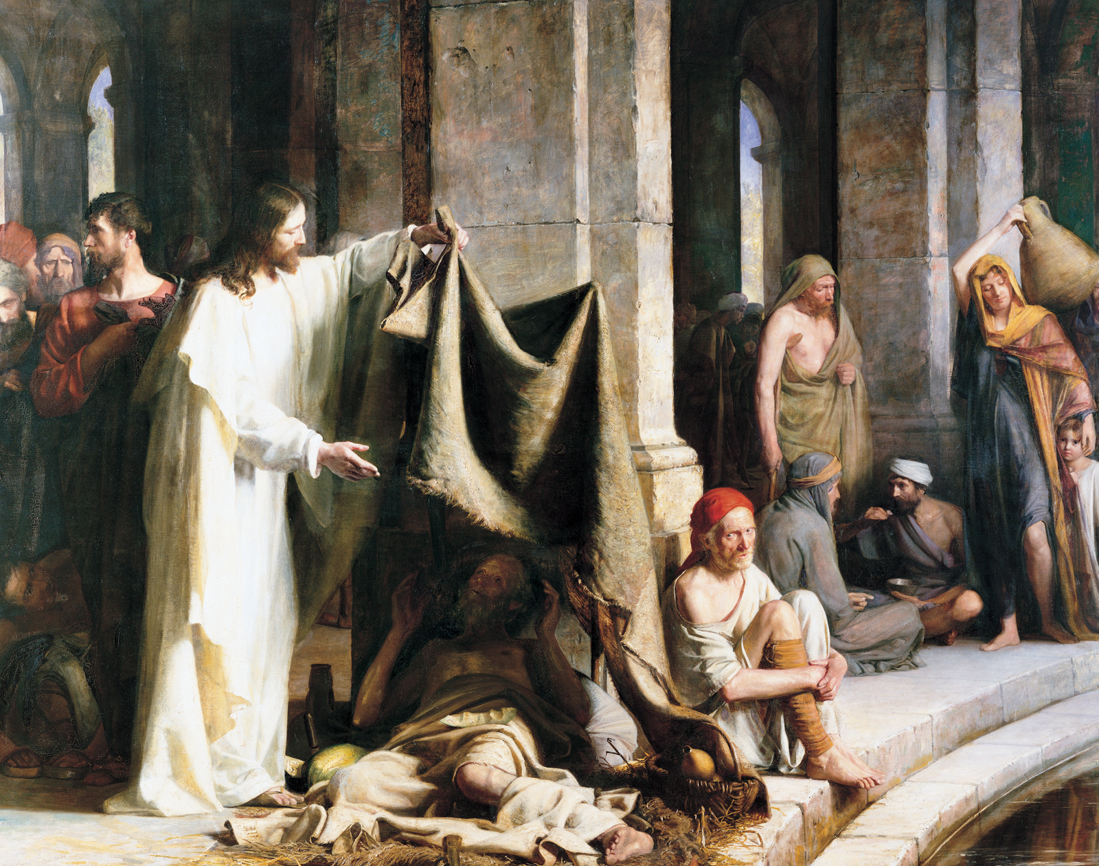 Christ Healing the Sick at Bethesda , by Carl Heinrich Bloch (Danish, 1834-1890). Oil on Canvas. 111 x 126 in.BYU Museum of Art.