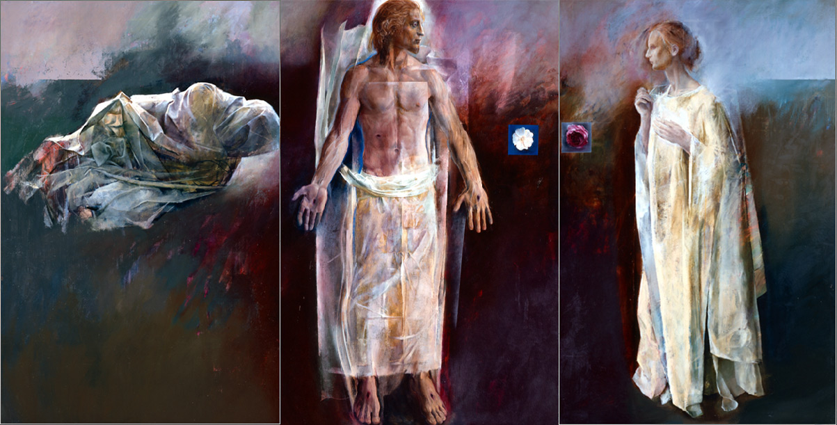 "Jesus and Mary: The Moment After  by Trevor Southey. Currently on view at the BYU MOA ""Magnifying the Lord"" Exhibition."