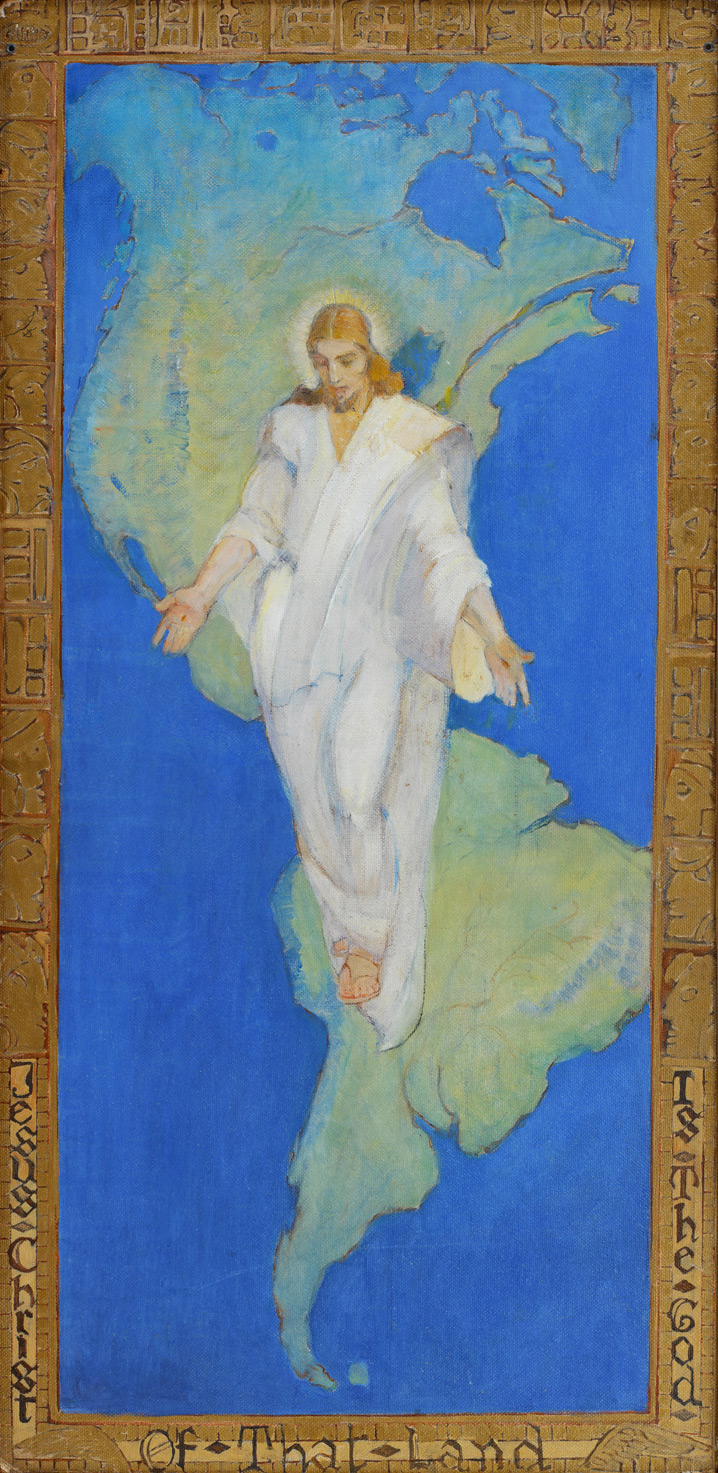 Jesus Christ is the God of That Land (c. 1940)  by Minerva Teichert. Oil on Board. 47 ¾ x 23 ¾ in. Springville Museum of Art