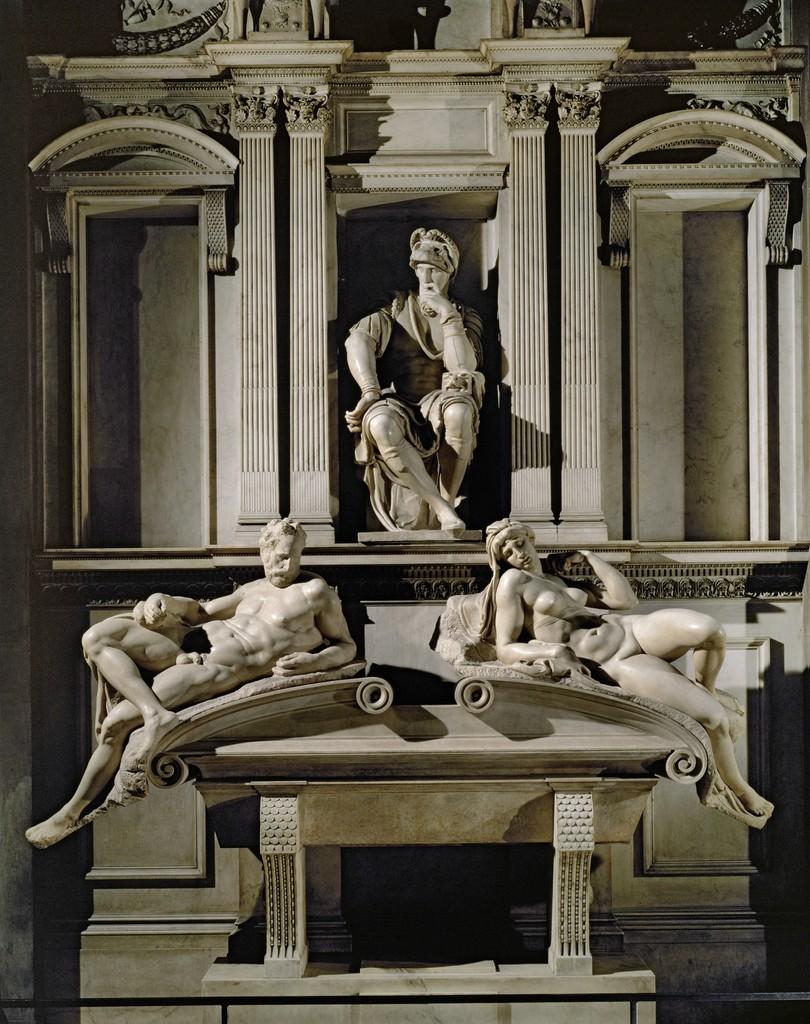 The Tomb of Lorenzo de Medici with Dusk & Dawn  (1524-1531)by Michelangelo Buonarotti (Italian, 1475-1564). Marble.630 x 420 cm.Sagrestia Nuova, San Lorenzo, Medici Chapel, Florence.