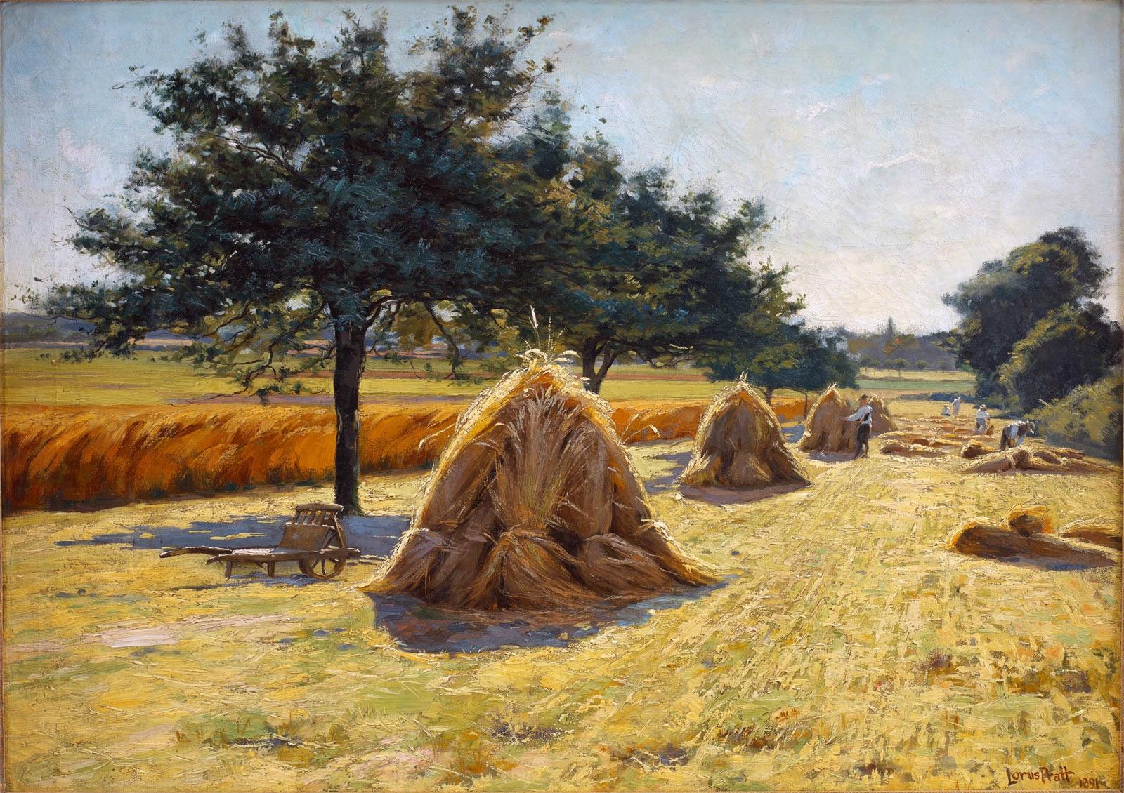 Haystacks  (1891) by Lorus Pratt. LDS Church Collection.