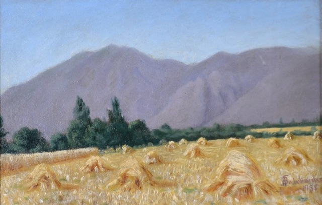 Haystacks  (1937) by JB Fairbanks. Private Collection.