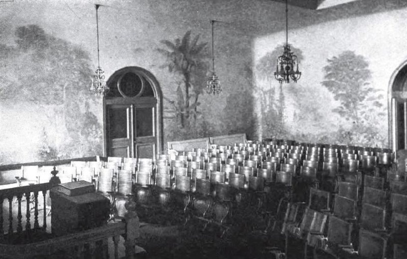 Photograph of the Garden Room in the Salt Lake Temple of The Church of Jesus Christ of Latter-day Saints  (1909). Source:  The House of the Lord  by James E. Talmage (1912).