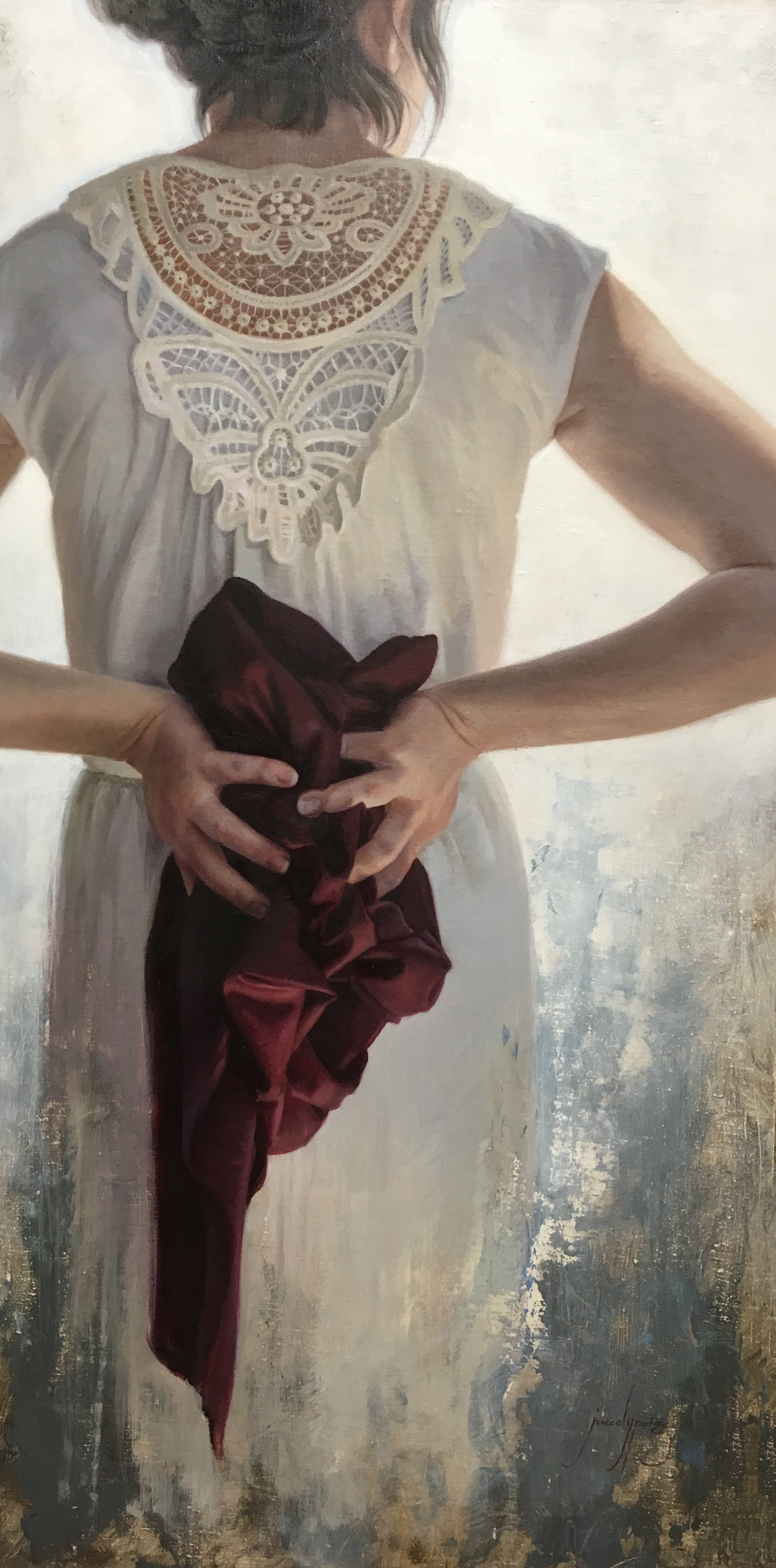 Holding Back  by Jenedy Paige. 12 x 20 in. Oil.