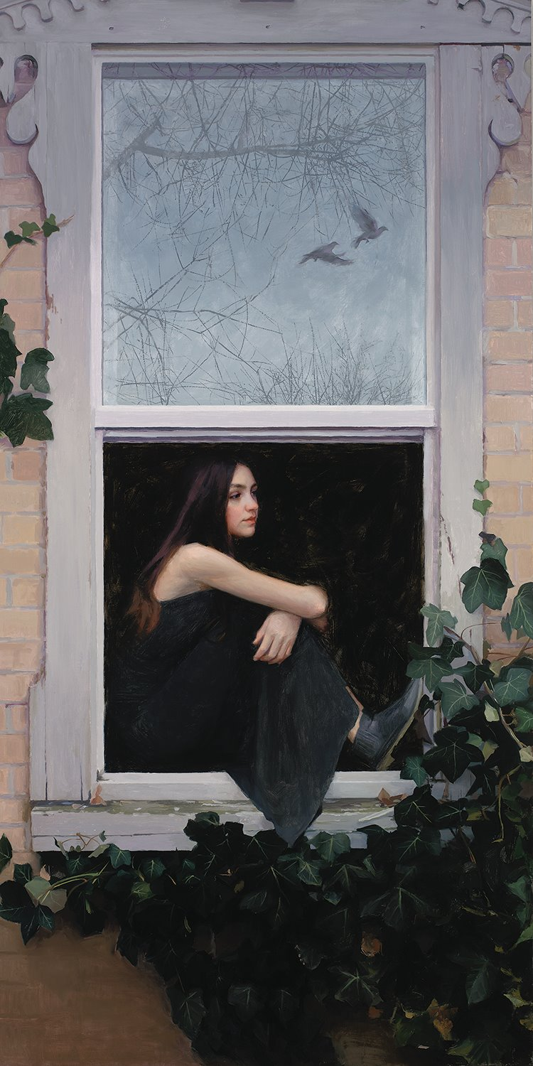 Take These Broken Wings  by Casey Childs. Oil on Canvas. 48 x 24 in. Collection of the artist.