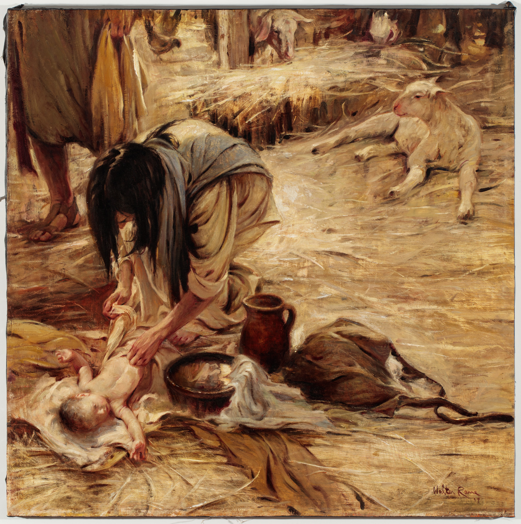Unto Us  by Walter Rane. 35 x 35 in. Oil on Canvas.