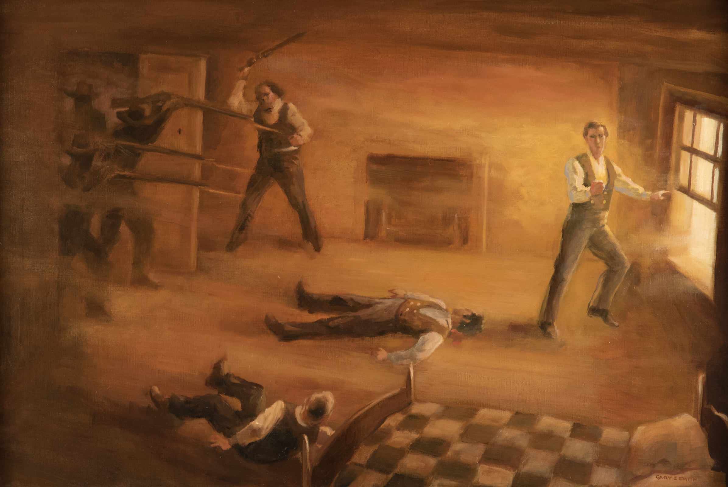 The Martyrdom of Joseph Smith  by Gary Ernest Smith. Oil on Linen. 20 x 30 in. Collection of the Artist.