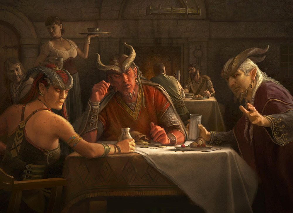Howard Lyon,  The Fell Court  (For dungeon and dragons), inspired by Caravaggio