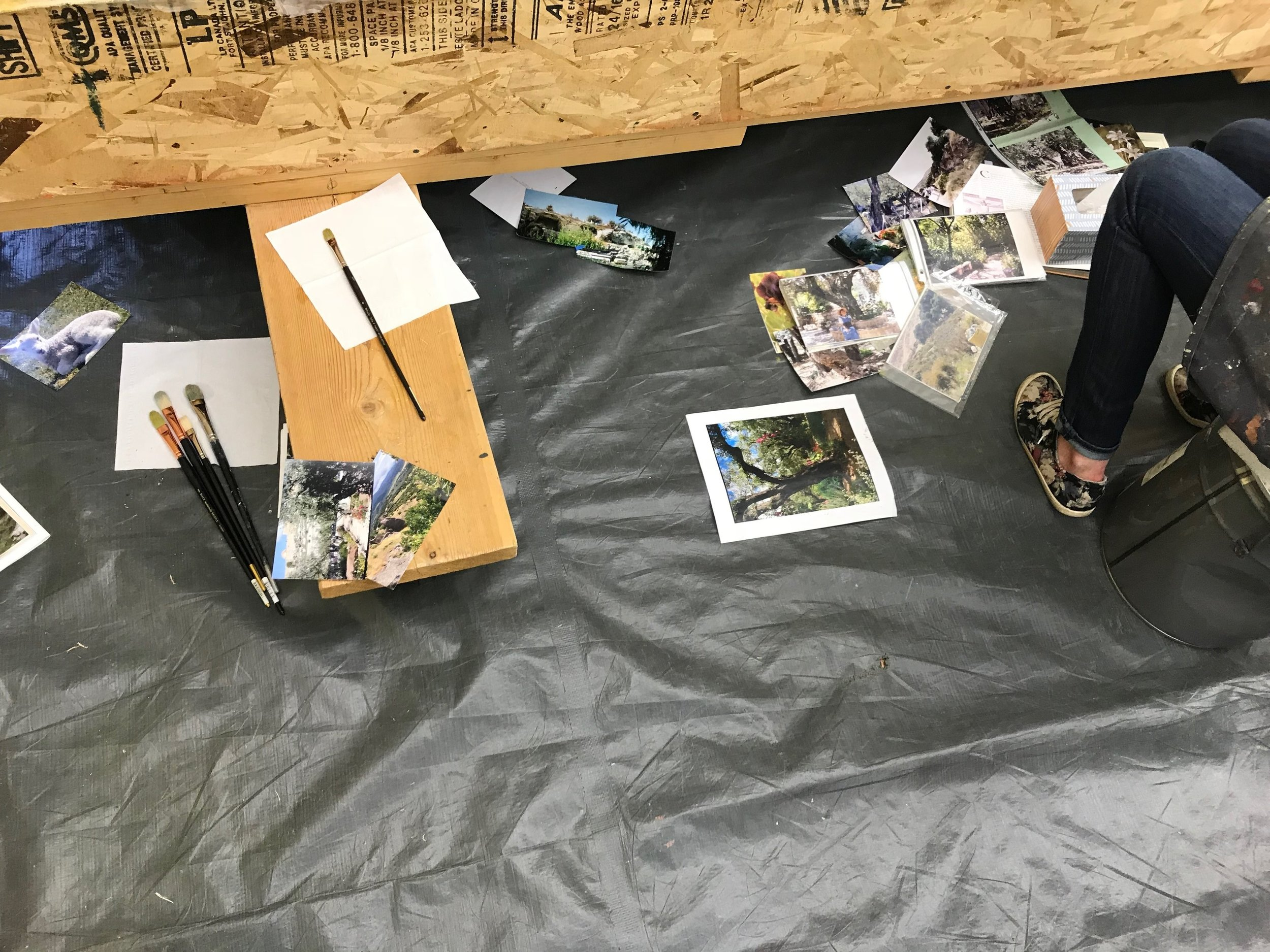Though we couldn't photograph the murals being worked on in Christensen's studio, it was inspiring to see the menage of photos and reference materials being used by artists to paint accurate depictions of gardens in the Holy Land for the Vernal Temple.
