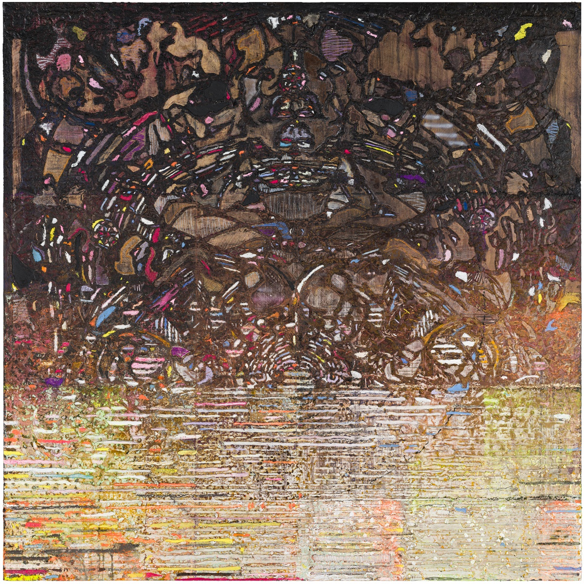 """Lane Twitchell   Buddhascreen  oil, polymers, and wax-based pigments on cut Olfin and Melinex mounted to oil, acrylic, and wax on birch-ply panel, 2016  48"""" x48"""""""