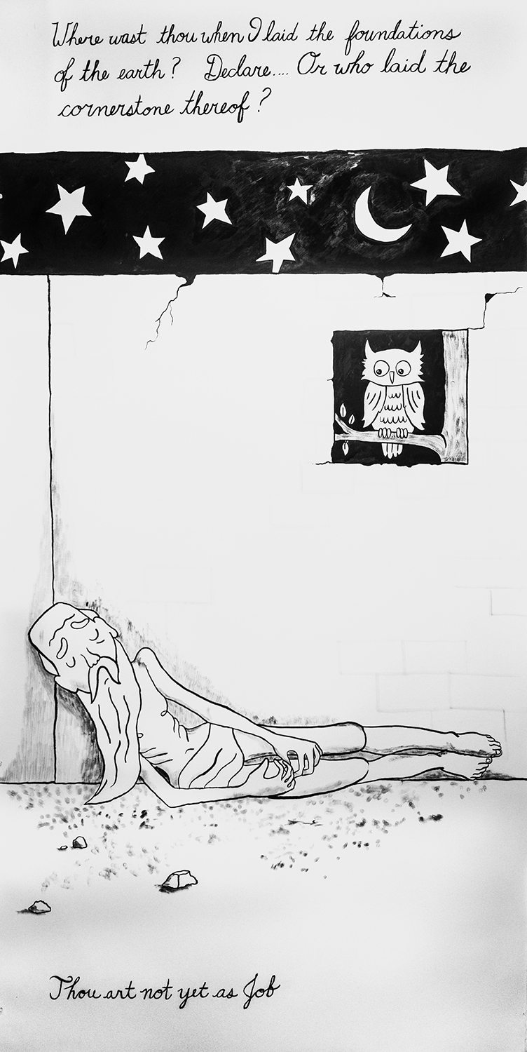 """Annie Poon Thou Art Not Yet As Job India Ink on Paper, 2016 44.5"""" x 90"""""""