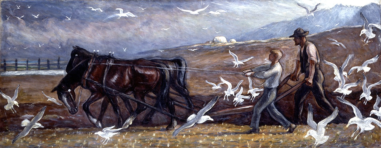 Mahonri Young (1877-1957), Plowing Valley of the Great Salt Lake, c.1930, oil on canvas, 28 ¼ x 72 1/8 inches. Brigham Young University Museum of Art, purchase/gift of the Mahonri M. Young Estate, 1959.