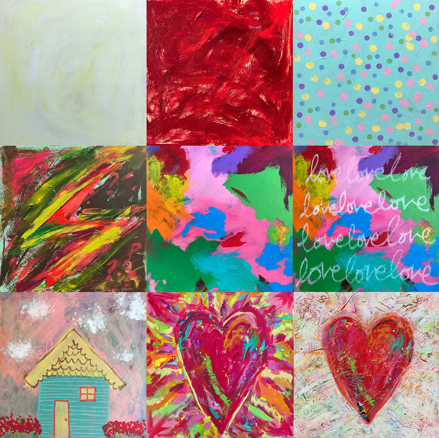Tonya Vistaunet. There Is No End to Love (2019), pictured from its first stage (upper left) to final version (lower right).