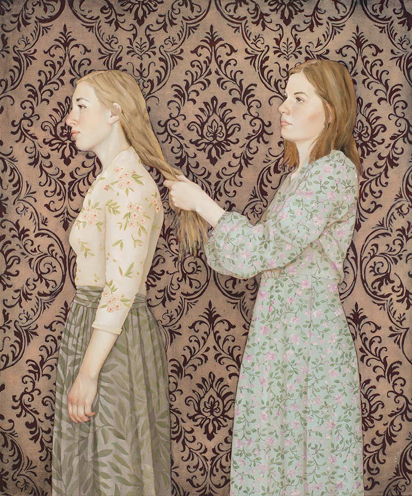 Emily McPhie. Sisters in Zion (2019) Oil on panel. On view at the Certain Women Art Show, on view at Anthony's Fine Art, Salt Lake City.