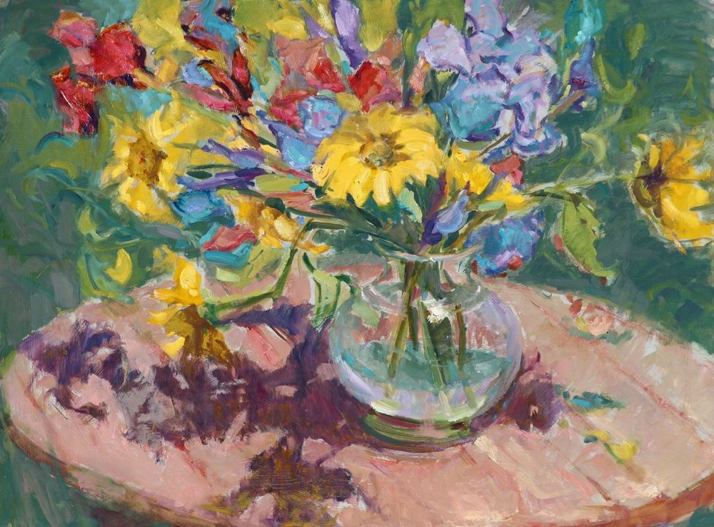 Anne Marie Oborn. Backyard Sunflowers.