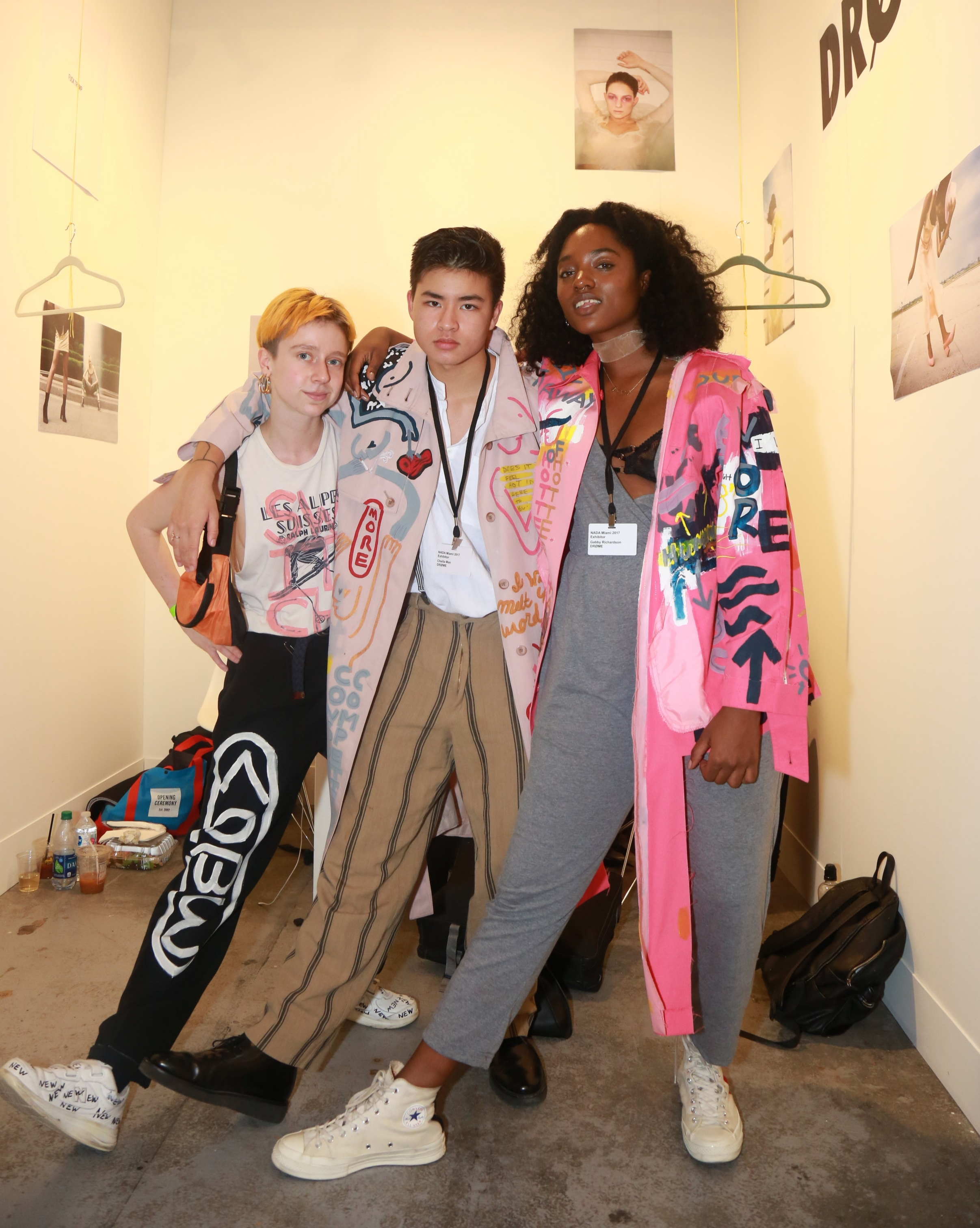 MI Leggett with Chella Man & Gabby Richardson at DRØME booth