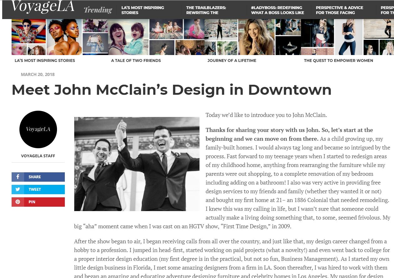 John McClain interview with Voyage LA magazine