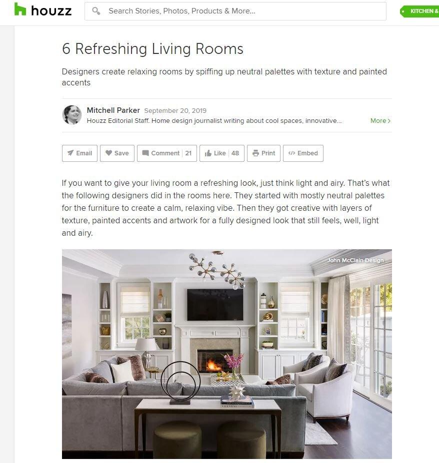 John McClain Houzz article: Refreshing Living Rooms