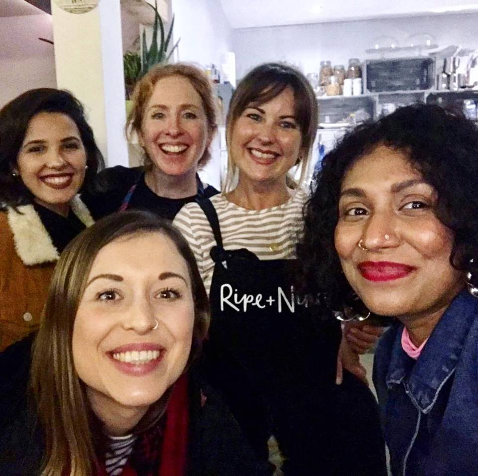 Emma and Danielle with guests at one of their supper clubs
