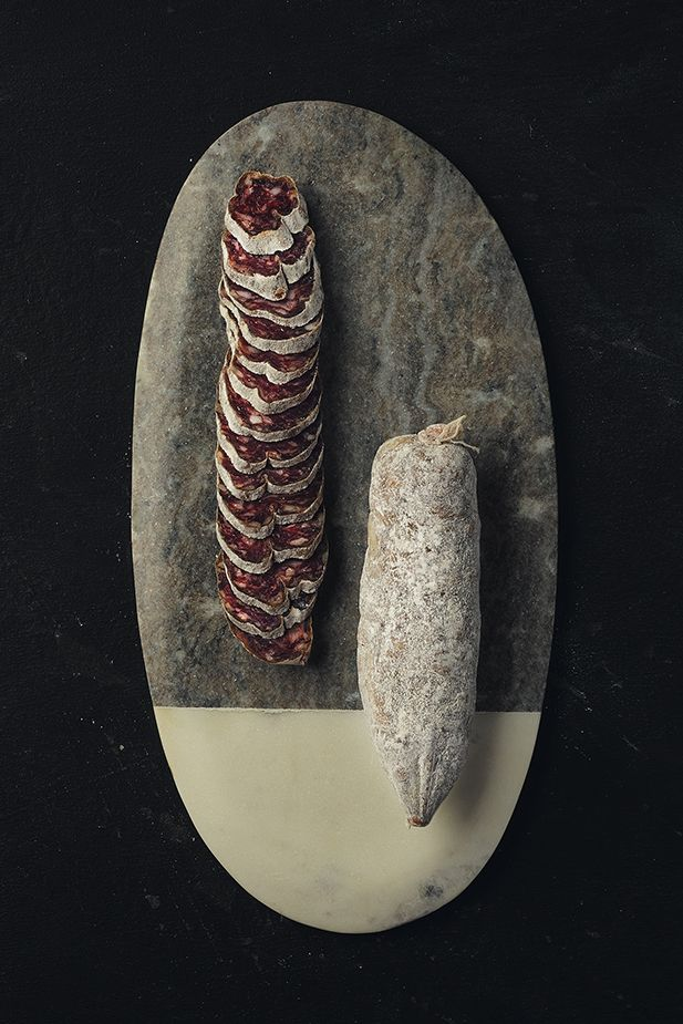 Creminelli meat on stone cutting board for final food photography
