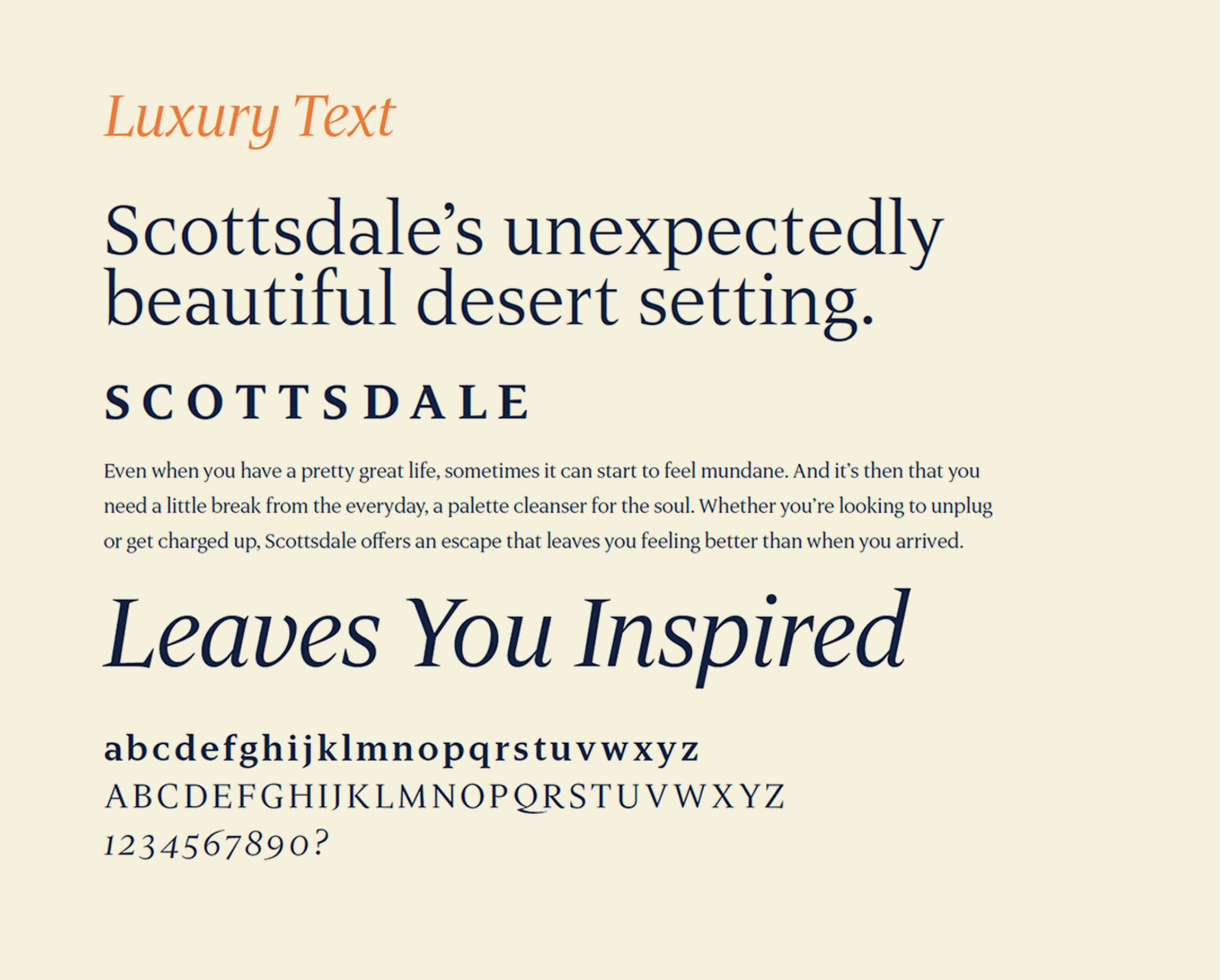 Examples of Luxury Text