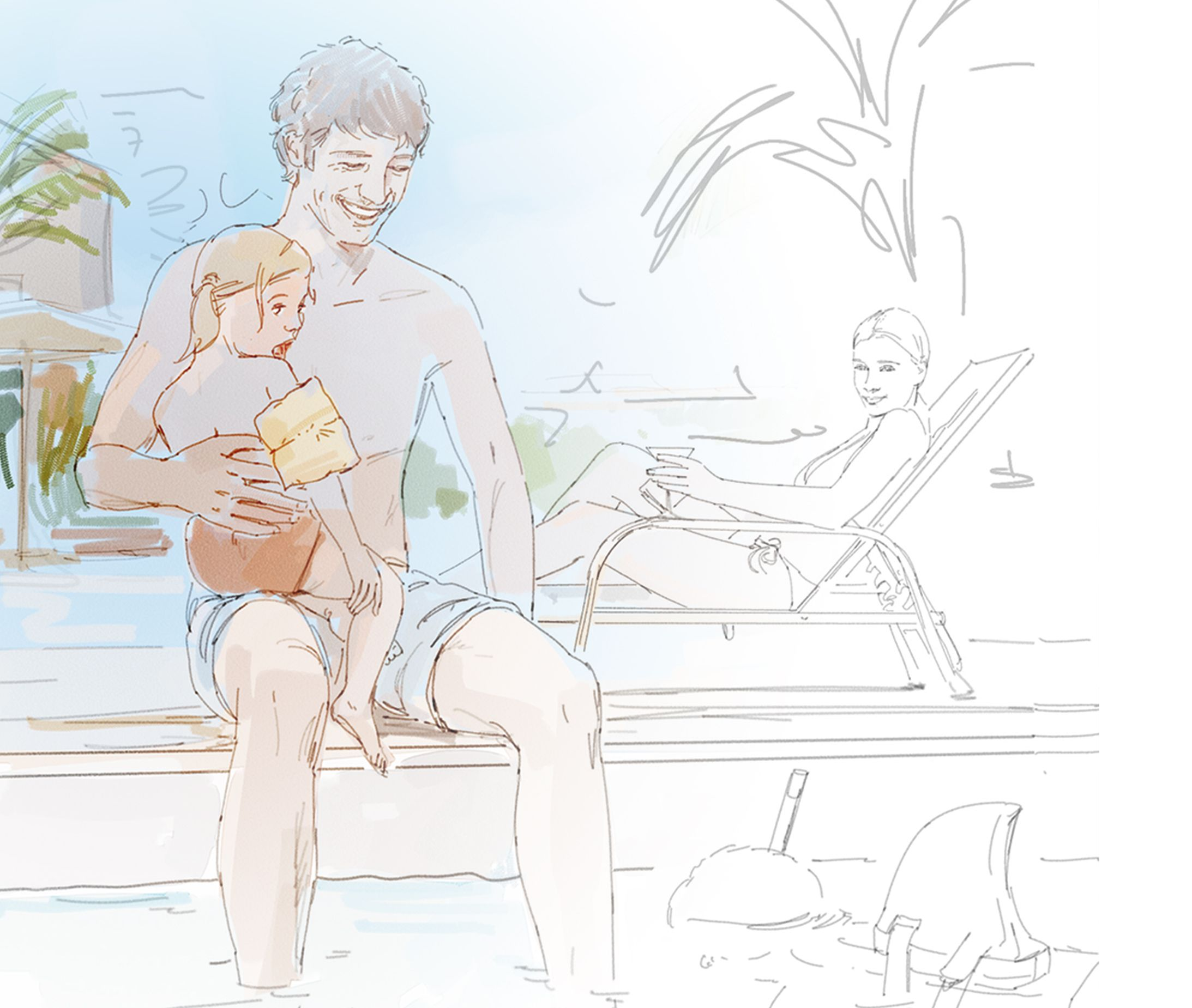 Concept sketch of a man holding a child by the pool.
