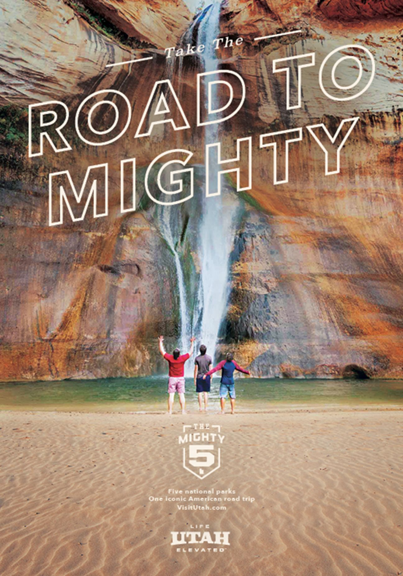 Road to Mighty advertisement with waterfall