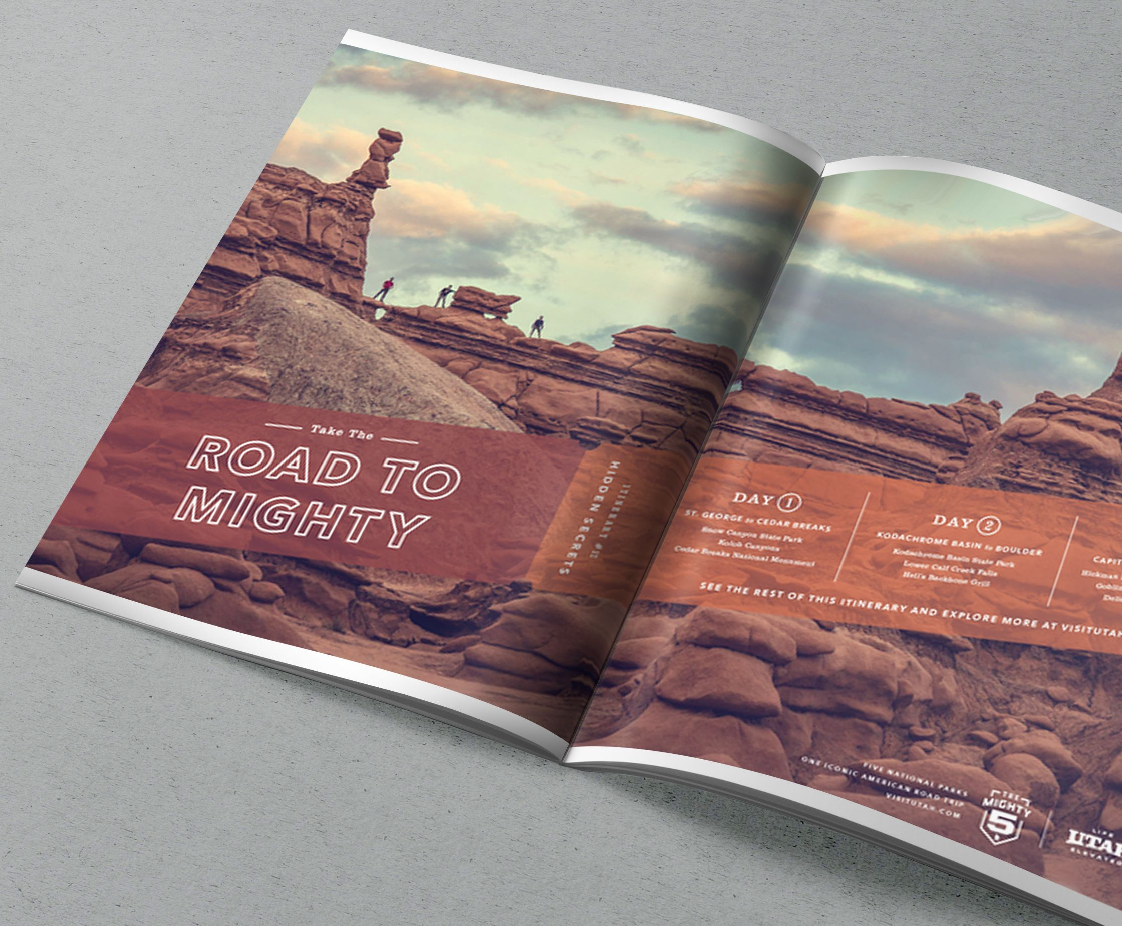 A Road to Mighty magazine spread with tourists