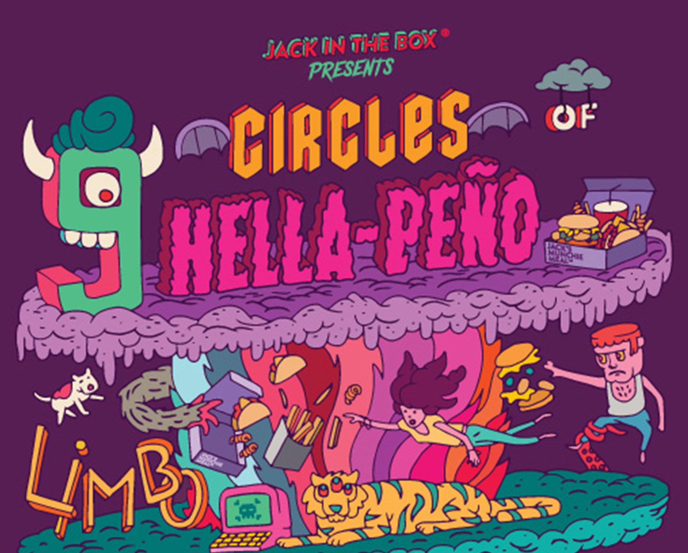 Close-up of 9 Circles of Hella-Peno Illustration