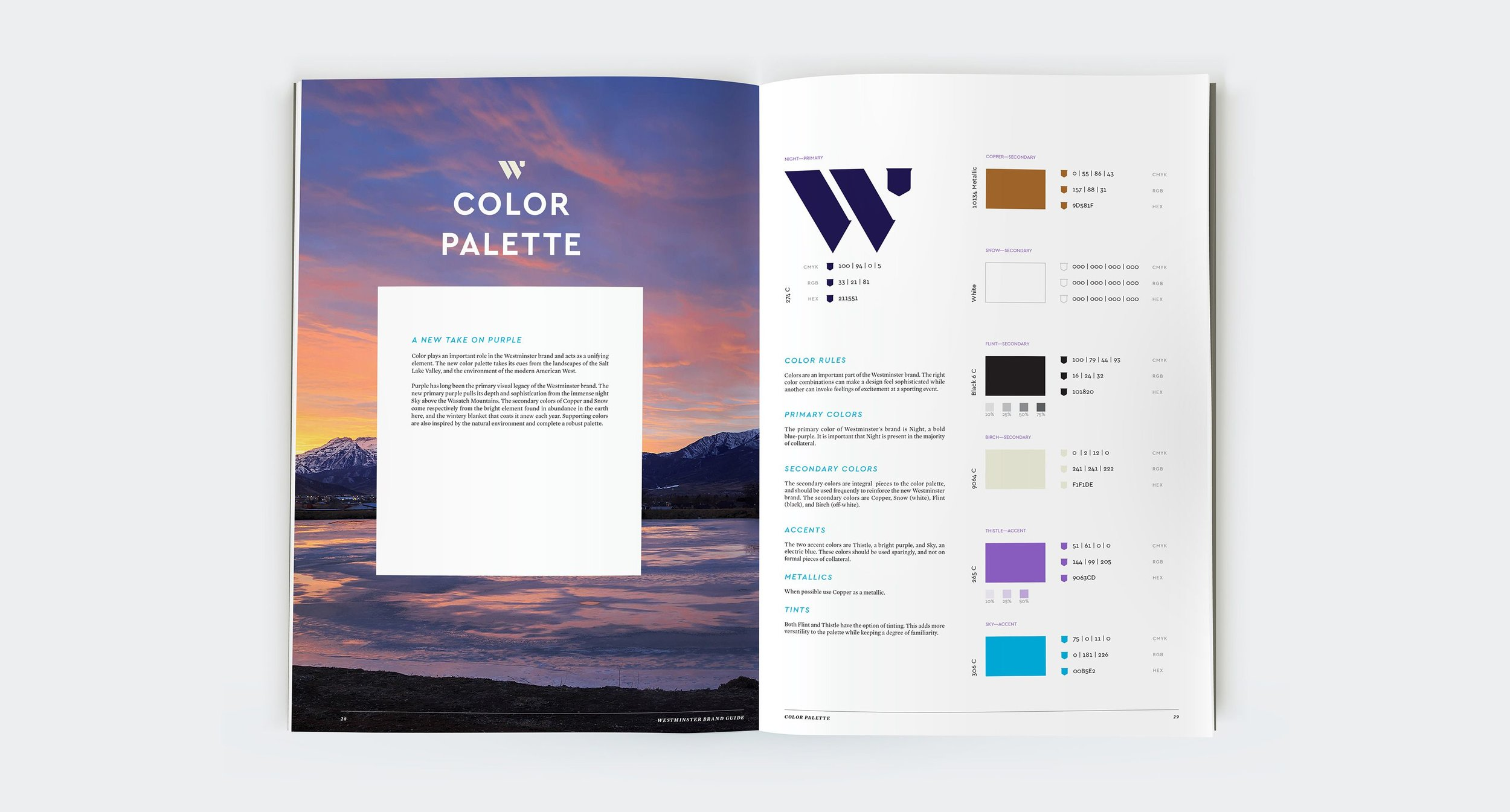 Color Palette section of the Westminster Brand Guide.