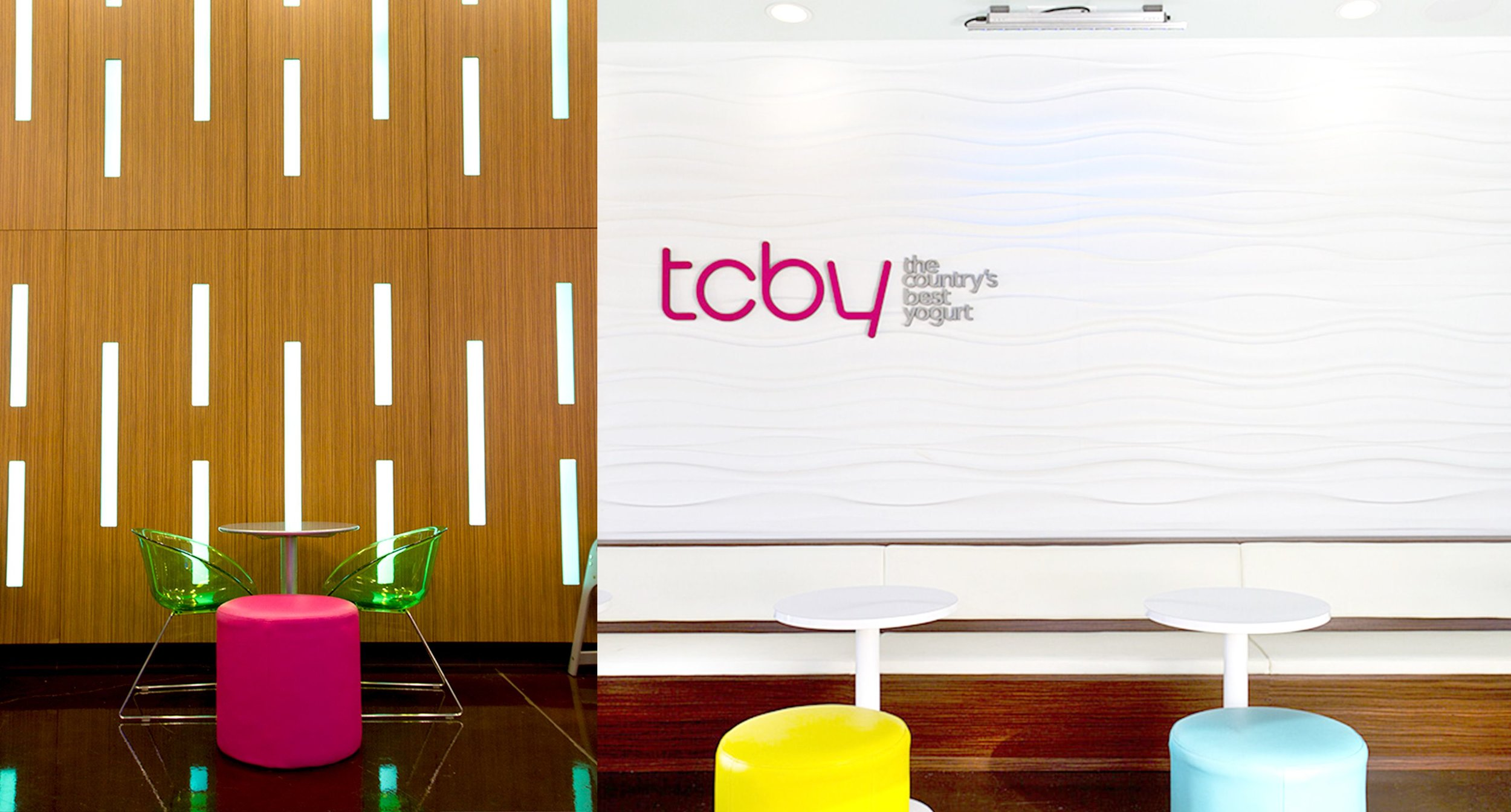 Close Up Seating and wall with TCBY Logo