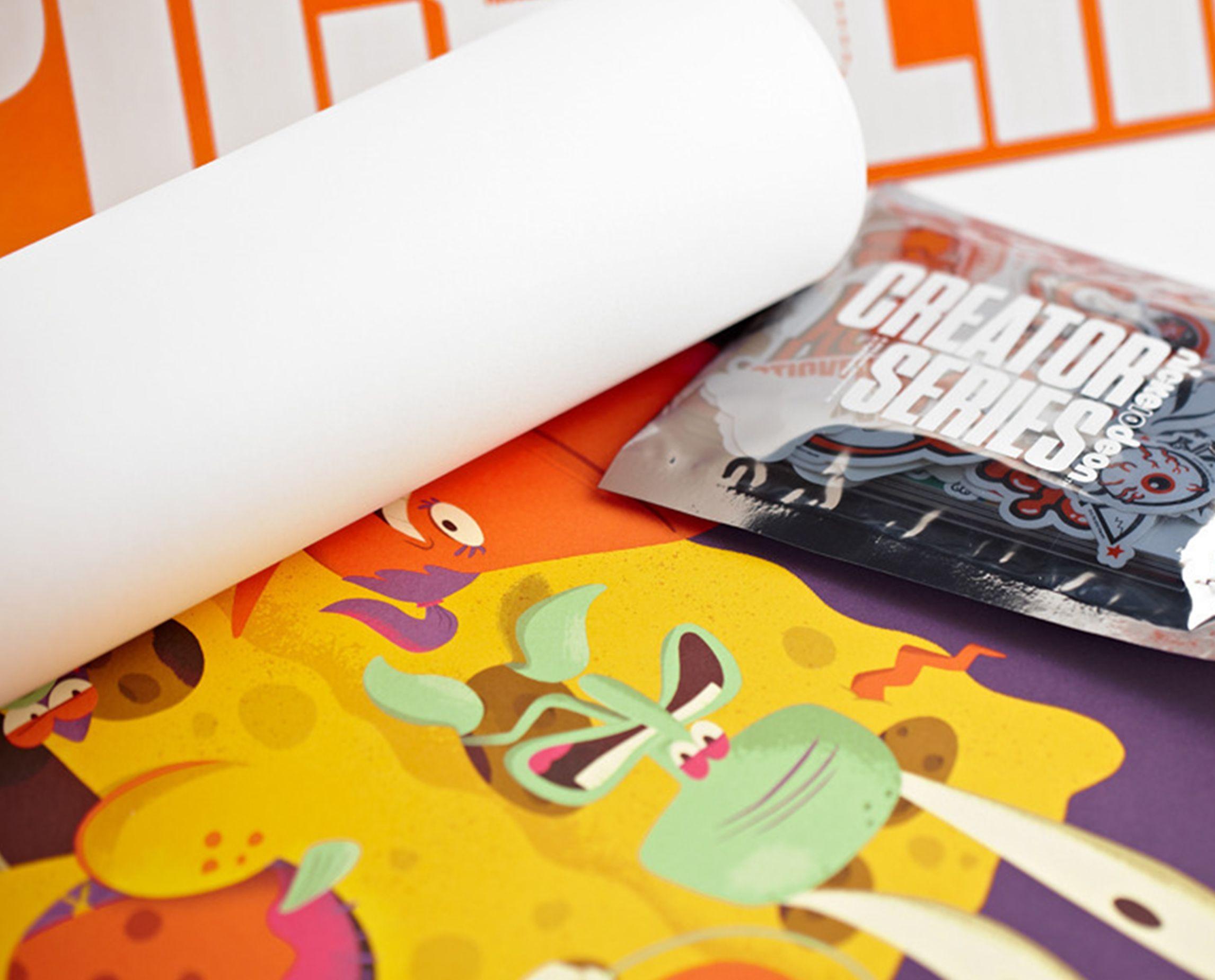 Spongebob poster and creator series sticker pack.
