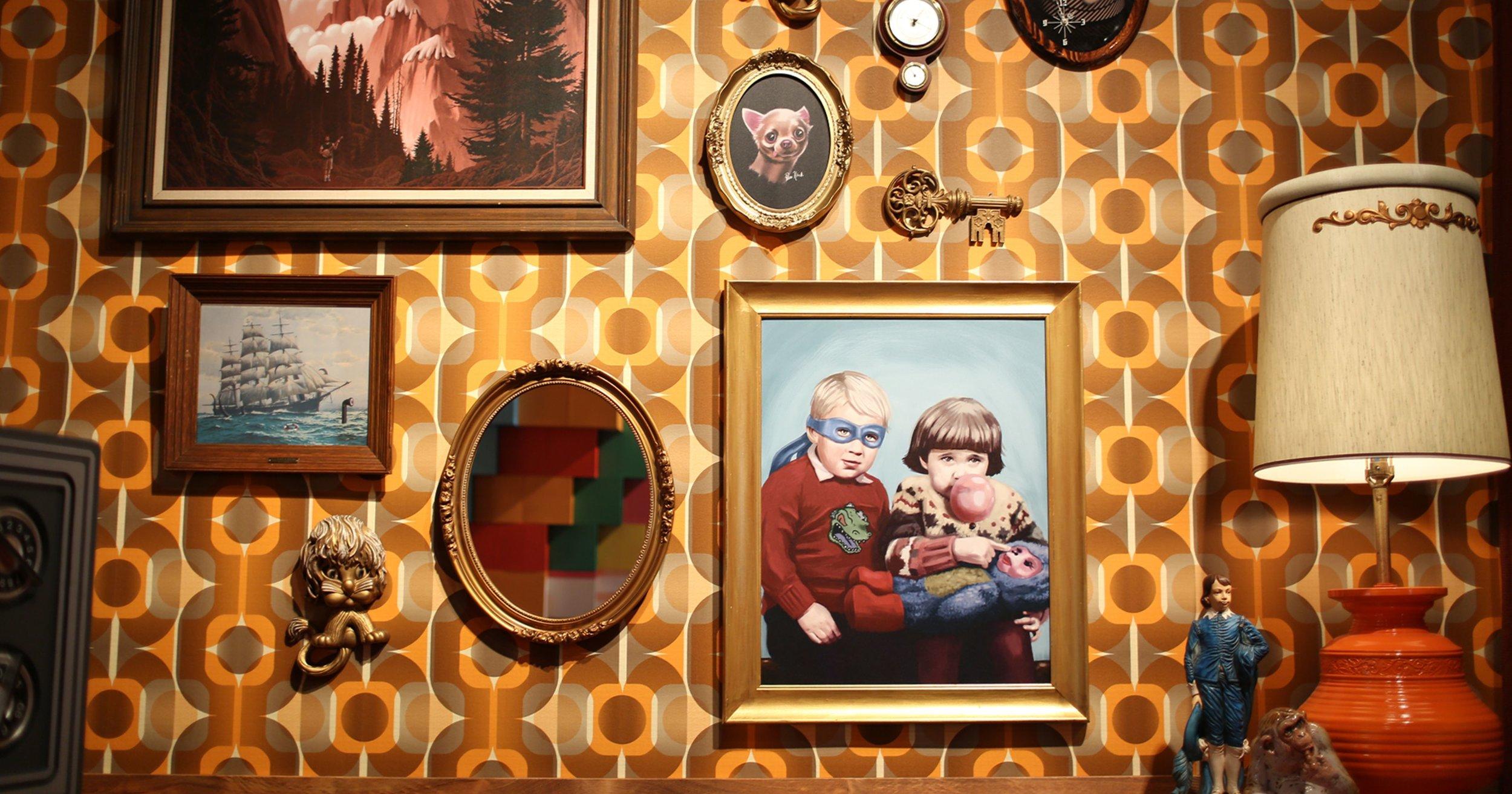 Gallery Exhibit Living Room Wall.