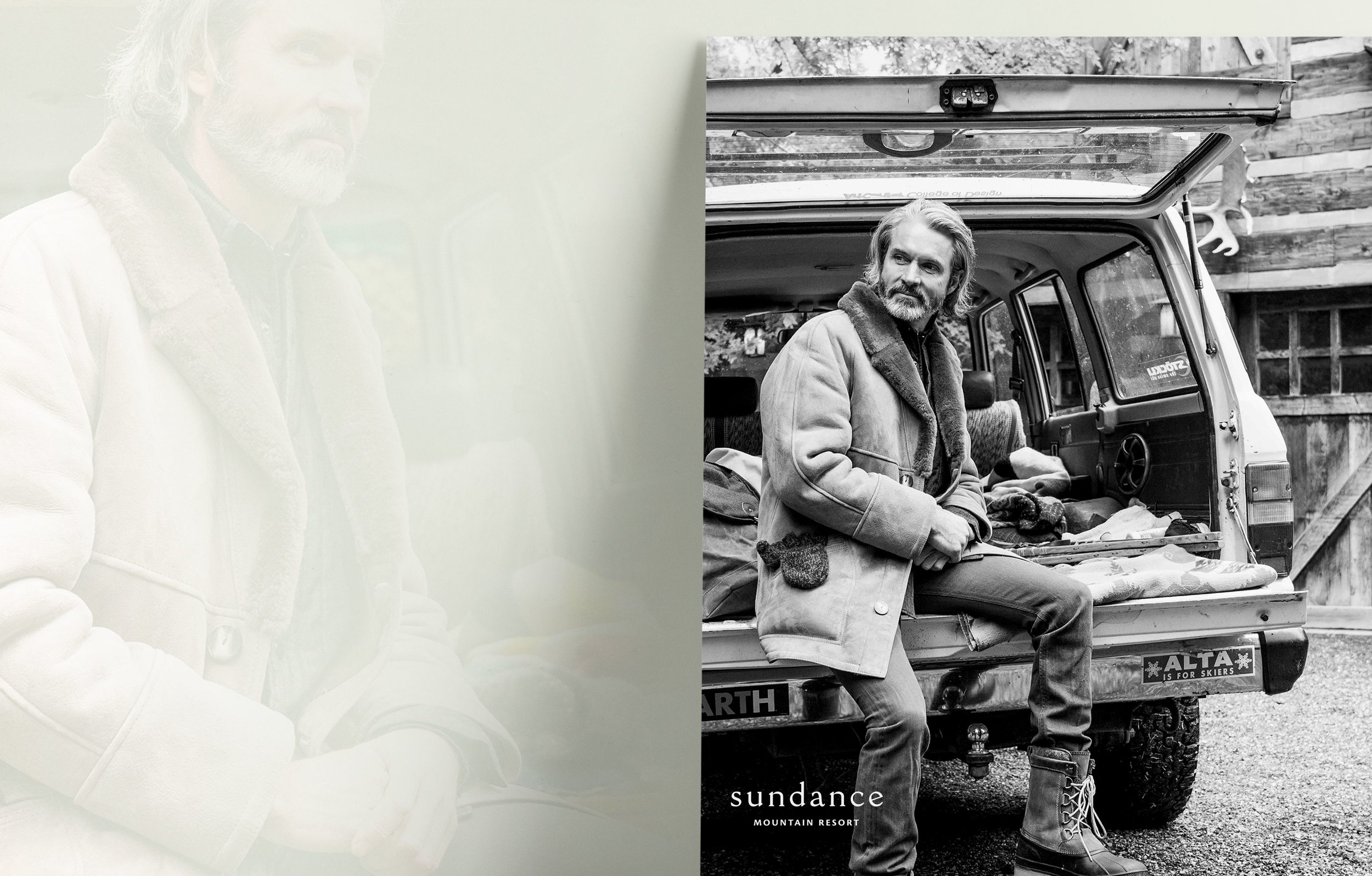 Man On Tailgate Sundance Mountain Resort Advertisement