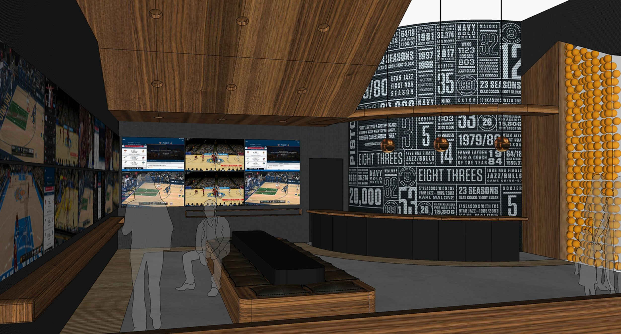 3D rendering of Home Court's media wall