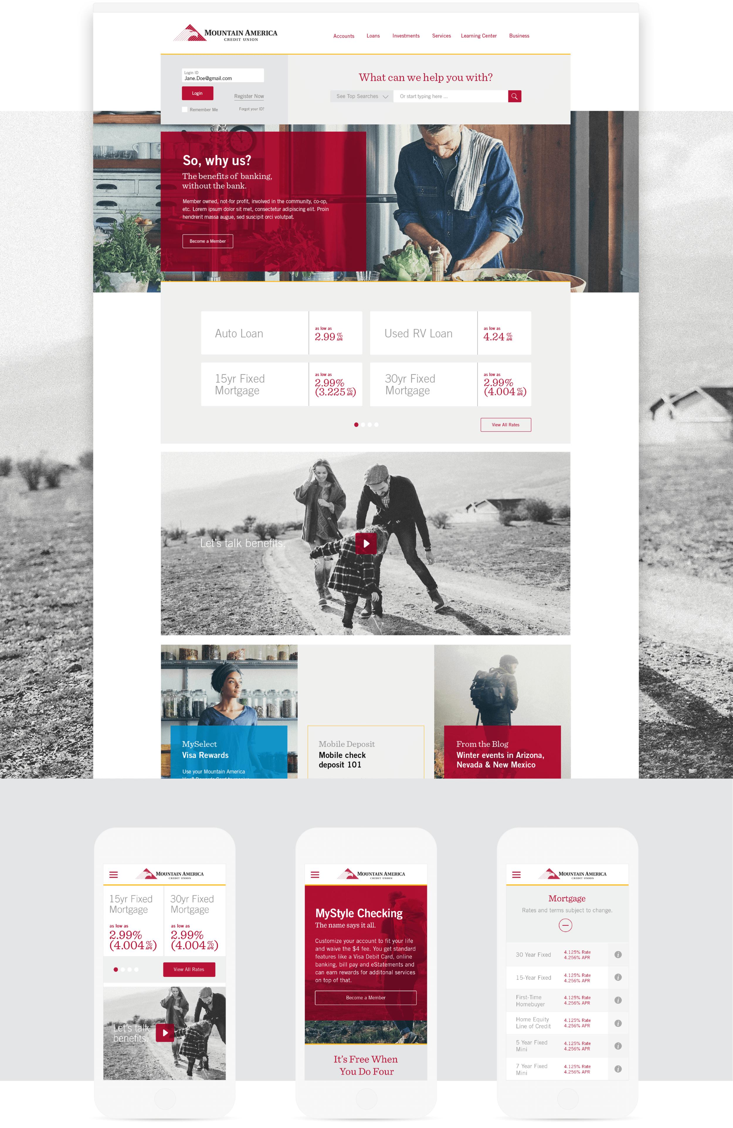 MACU Landing Page and Mobile Display