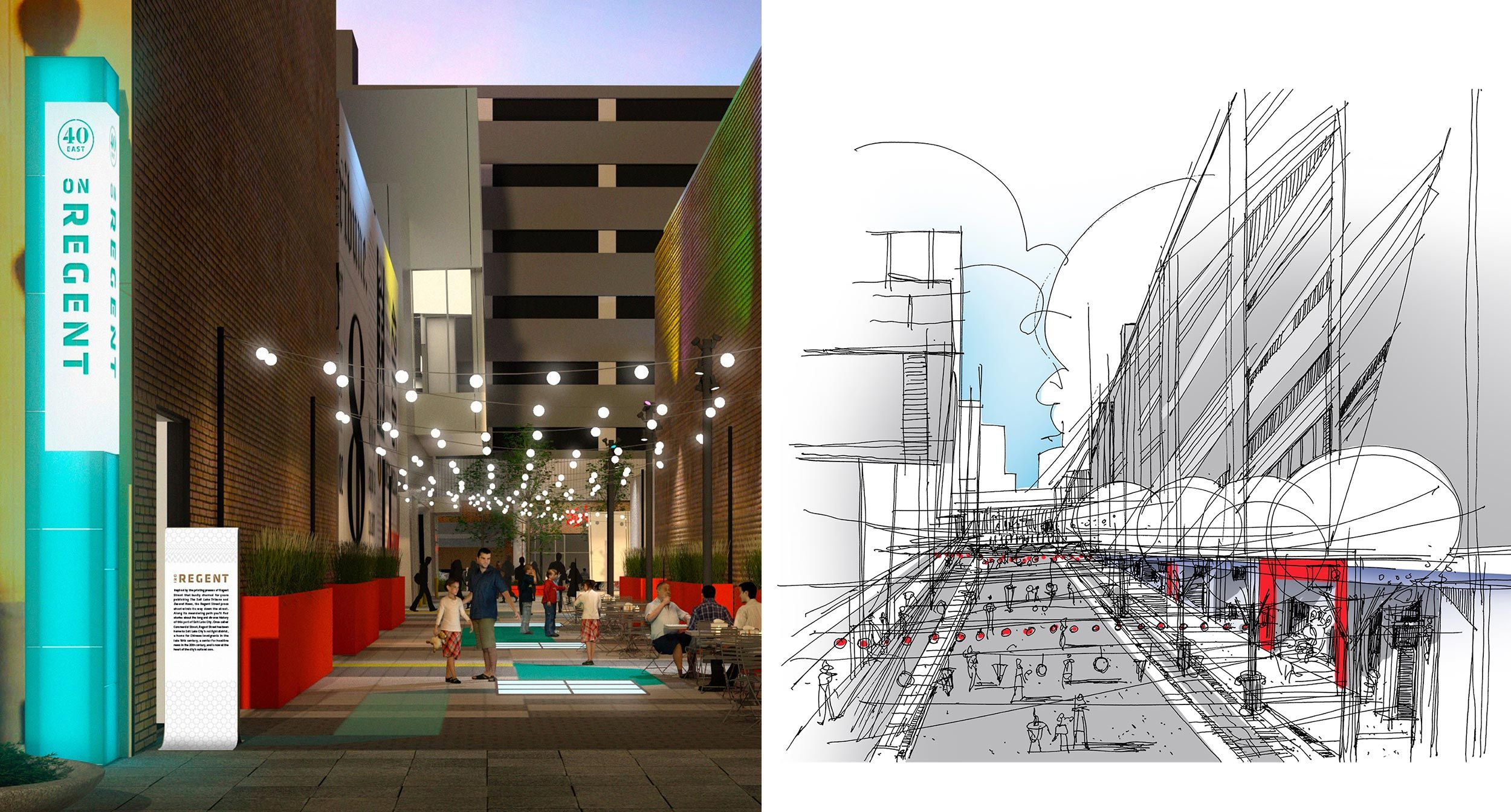 Rendering and sketch of part of Regent Street with Cafe Lights