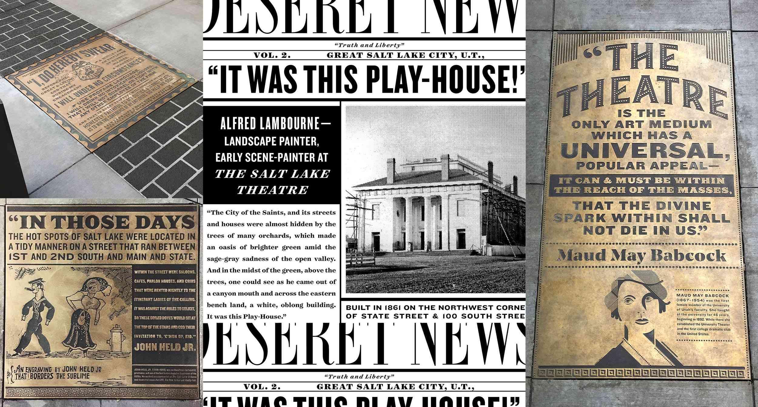 Regent Street Historical News Inserts on Sidewalk