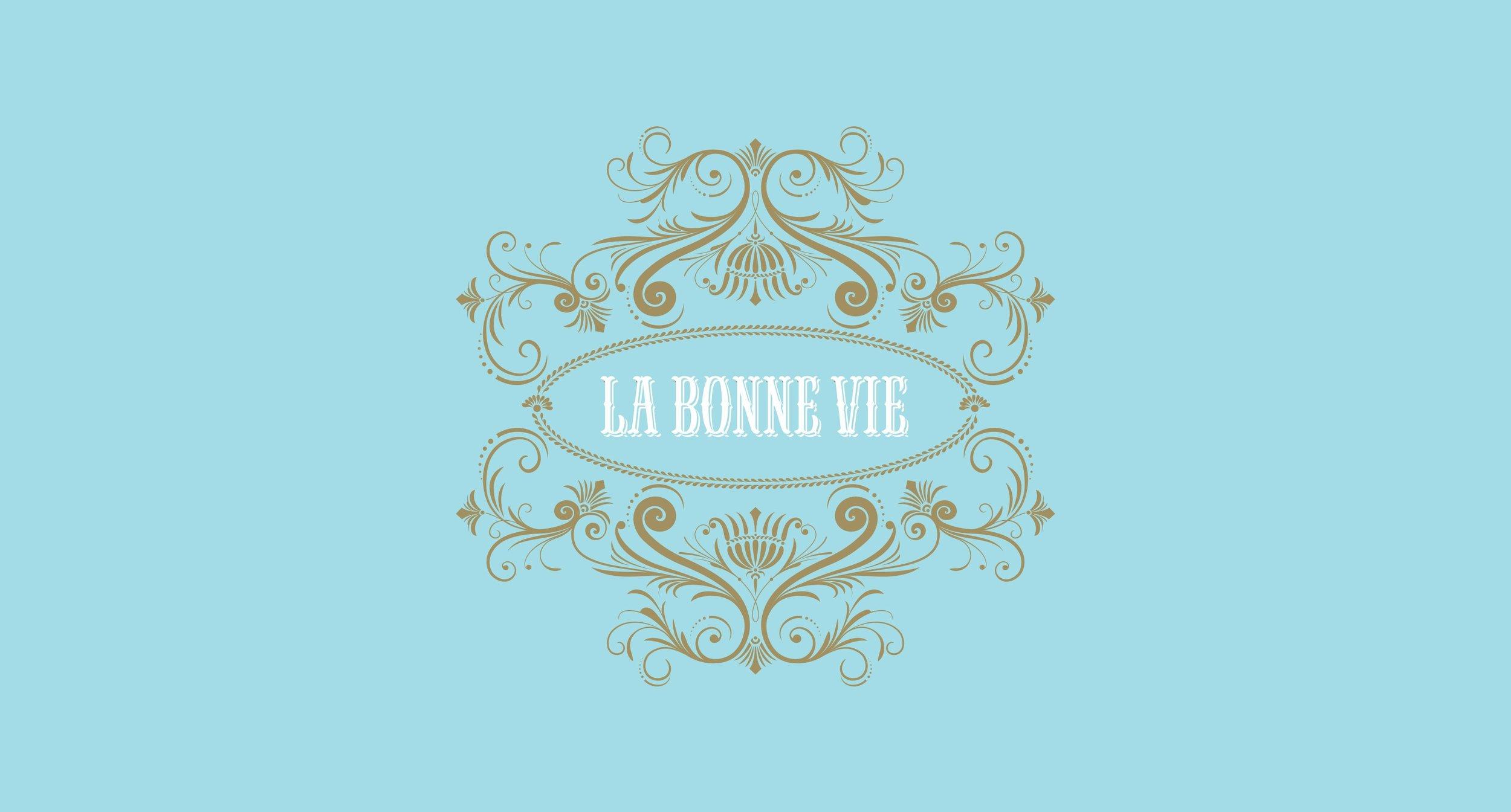La Bonne Vie in White Logo - Blue Background