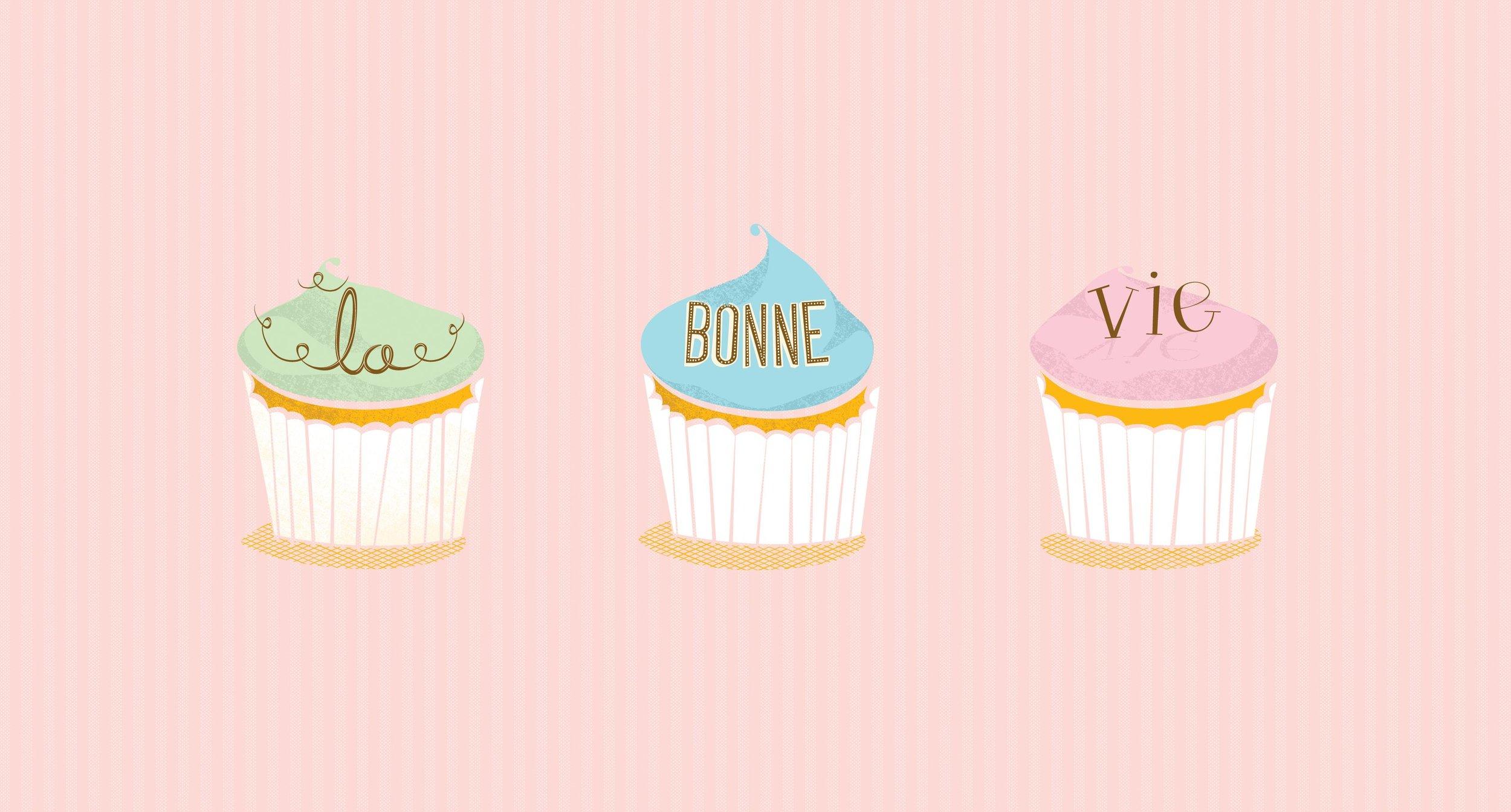 La Bonne Vie Cupcake Illustration