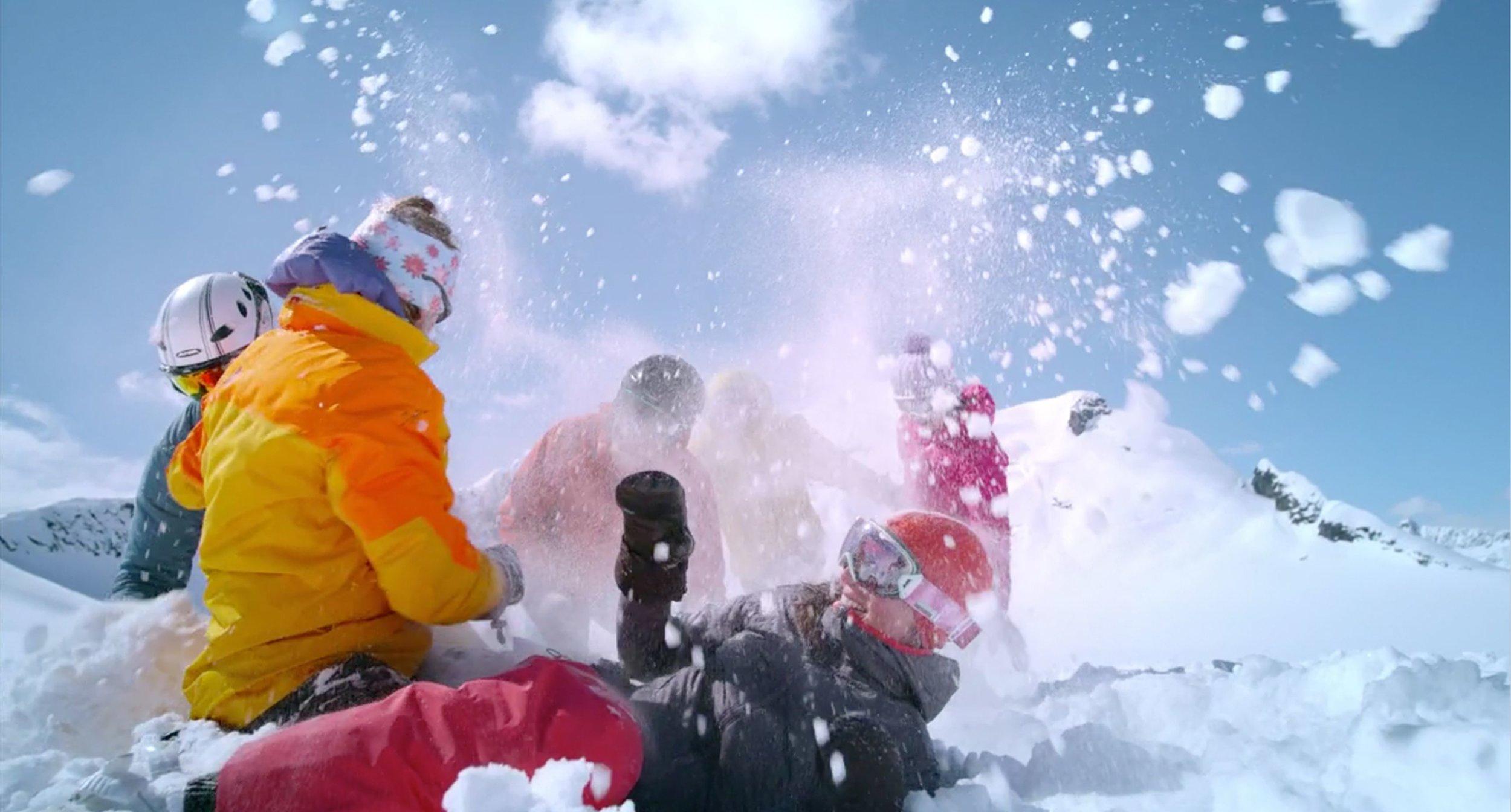 Skier Snowball Fights