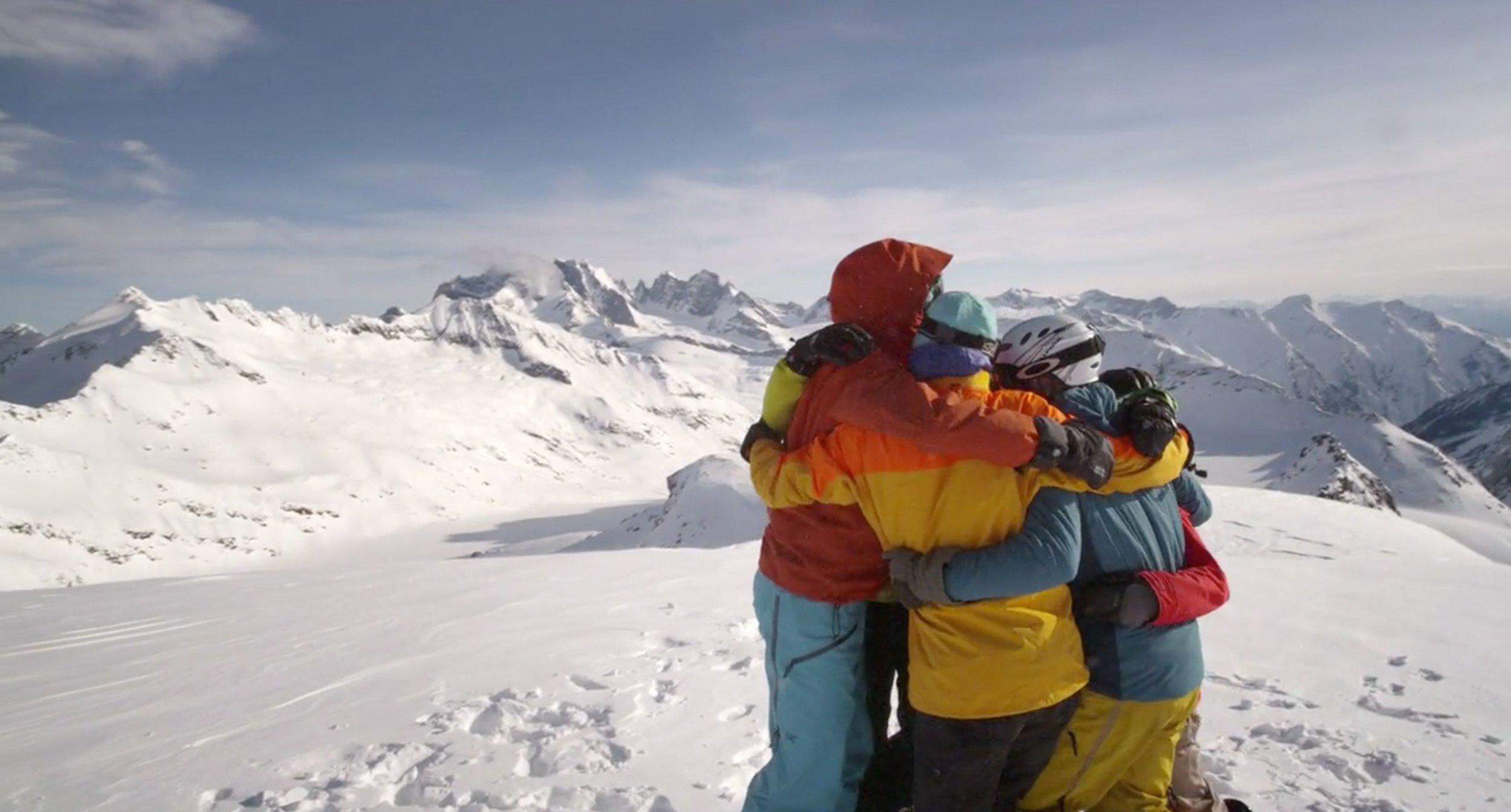 Skier Group Hug