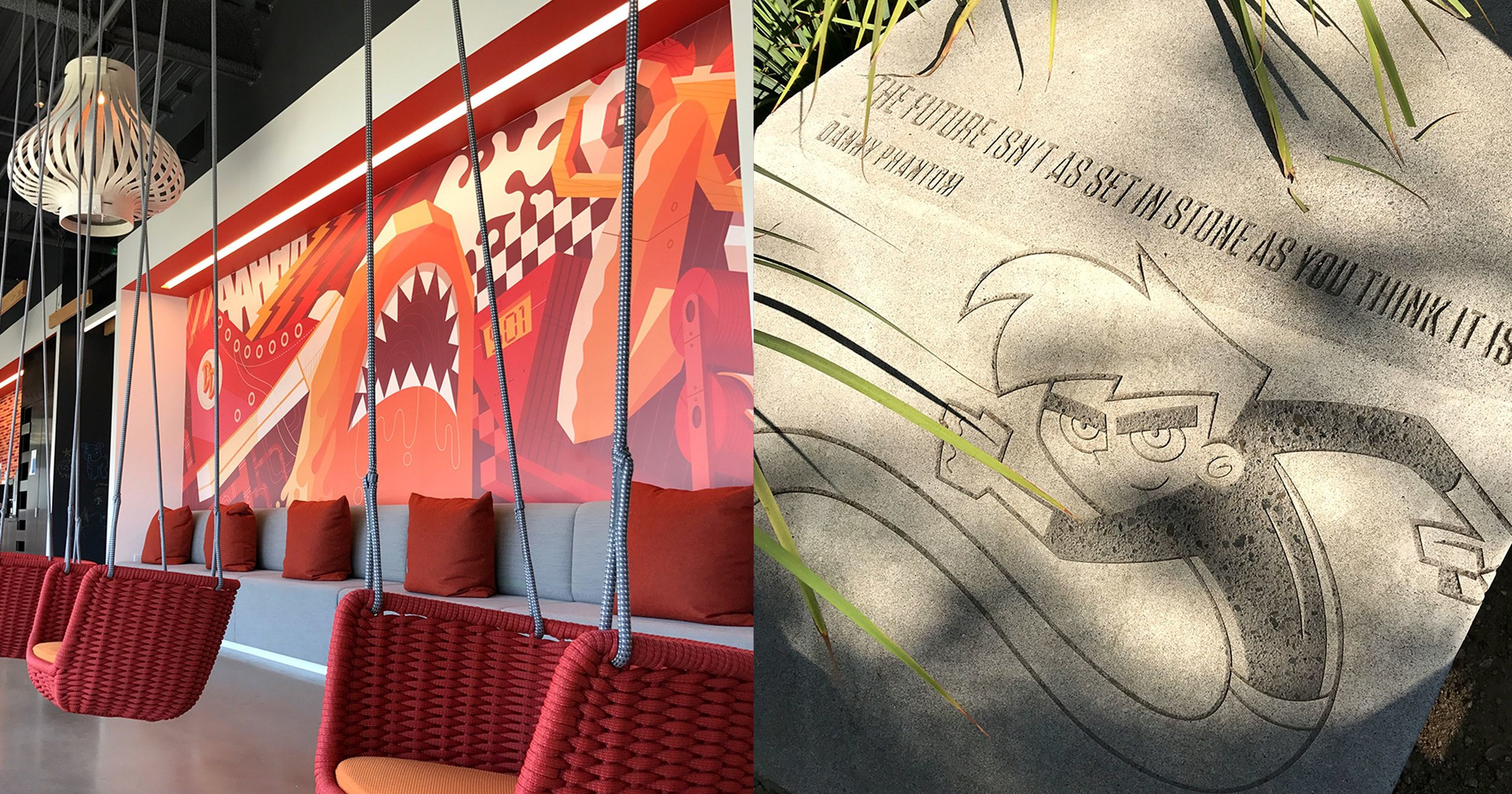 Room with hanging chairs and sidewalk with Danny Phantom quote.