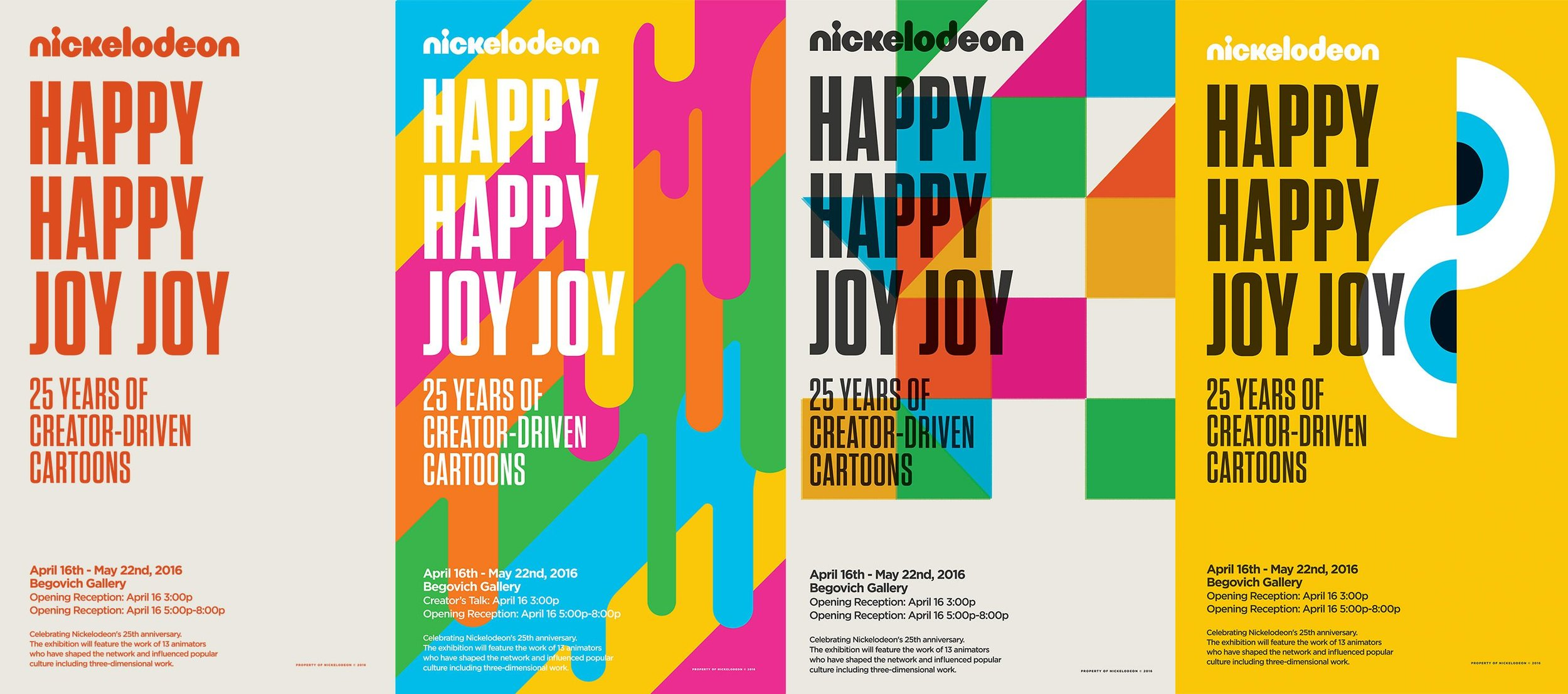 Artboard of Various Happy Happy Joy Joy Exhibit Posters