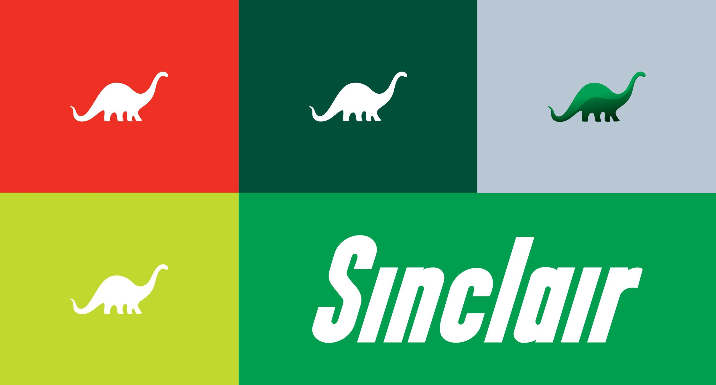 Single Dinosaur with Color Options and Sinclair Logo in White Artboard