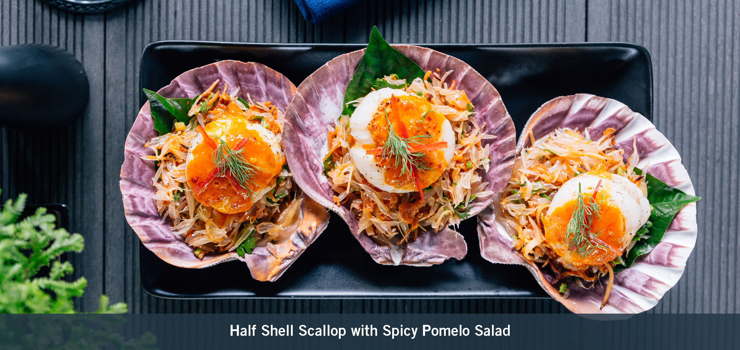 Half Shell Scallop with Spicy Pomelo Salad