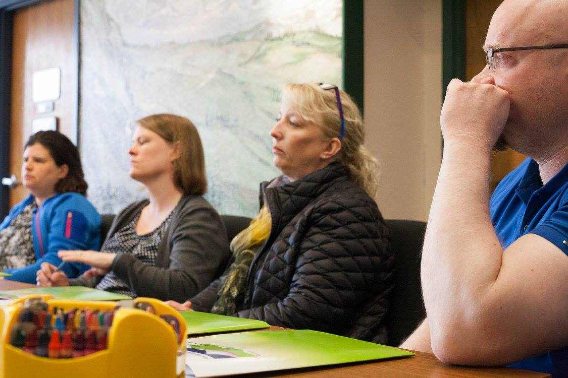Clare Reidy, from the Health Federation of Philadelphia (second to left) listens, along with Sue Armstrong of Rural CAP's Headstart programs (left), Anne Dennis-Choi of AK Child and Family (second to right) and Josh Arvidson (right) of the Alaska Child Trauma Center, in a discussion about trauma and resilience and the role of the Alaska Resilience Initiative in supporting the existing efforts of organizations and tribes.
